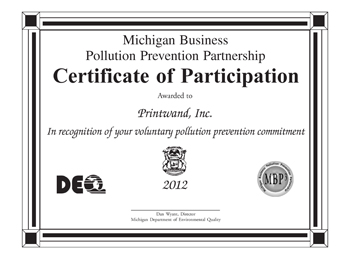 Michigan Business Pollution Prevention Partnership Certificate