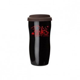 Black / Brown 13 oz. Double Wall Ceramic Tumbler