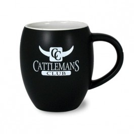 Black / White 16 oz NY Fat Boy Matte Two Tone Ceramic Coffee Mug