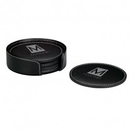 "Black 4 1/4"" Stitched Round Coaster Set"