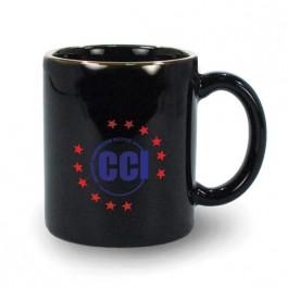 Black 11 oz USA Made Vitrified Ceramic Coffee Mug