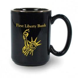 Black 15 oz USA Made El Grande Vitrified Ceramic Coffee Mug
