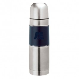 Blue 17 oz. Debossed Stainless Steel Sleeve Flask
