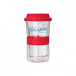 Clear / Red 12 oz. Double Wall Glass Comfort Sleeve Tumbler