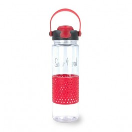 Clear / Red 24 oz Wisconsin Plastic Water Bottle