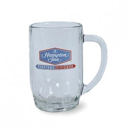 Clear 19 1/2 oz Thumbprint Glass Beer Stein