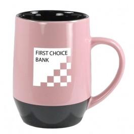 Pink / Black 17 oz Washington Ceramic Coffee Mug