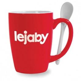 Red / White 16 oz Mete Red Vitrified Ceramic Mug with Spoon