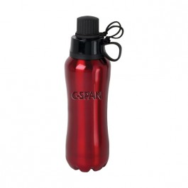 Red 27 oz Engraved Dual Cap Water Bottle