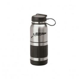 Silver / Black 34 oz. Stainless Steel Flip Top Water Bottle