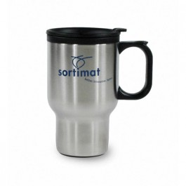 Stainless / Black 14 oz Stainless Steel Plastic Liner Coffee Mug