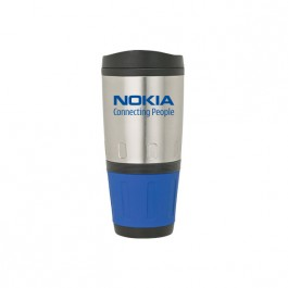 Silver / Blue 16 oz. Steel & PP Two-Tone Tumbler