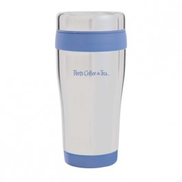 Silver / Blue 13 oz. Color Band Travel Tumbler