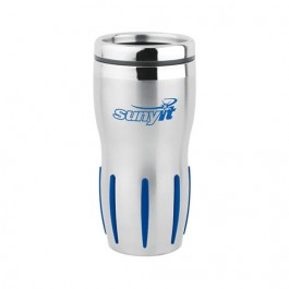 Silver / Blue 16 oz. Stainless Rib-Grip Travel Tumbler