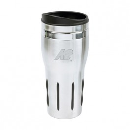 Stainless / Black 14 oz Engraved Rubber Grip Tumbler