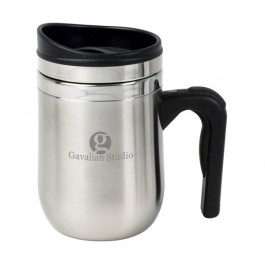 Stainless / Black 10 oz Engraved Motif Desk Mug