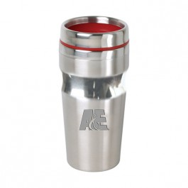 Stainless / Red 15 oz Engraved Accent Lid Band Tumbler