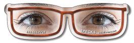 White 4.3125 x 1.25 Eyeglasses Shape Magnet