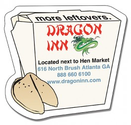 White 2.75 x 2.625 Chinese Take-Out Box Shape Magnet