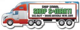 White 5 x 1.7 Semi Truck Shape Magnet
