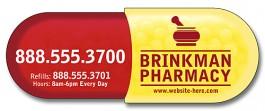 White 1.875 x 5.125 Pill Capsule Shape Magnet