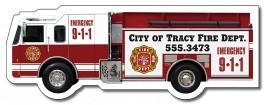 White 5.125 x 1.9 Fire Truck Shape Magnet
