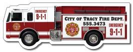White 5.125 x 1.9 Fire Truck Shape Outdoor Magnet