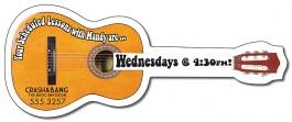 White 5 x 2 Acoustic Guitar Shape Magnet