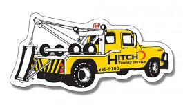 White 4.75 x 2.25 Tow Truck Shape Magnet