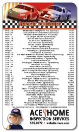 White 3.5 x 6 Round Corner NASCAR Schedule Magnet
