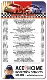 White 4 x 7 Round Corner NASCAR Sport Schedule Magnet
