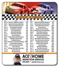 White 3.5 x 4 Round Corner NASCAR Sport Schedule Magnet