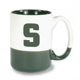 White / Green 13 1/2 oz Varsity Vitrified Ceramic Coffee Mug - White / Green