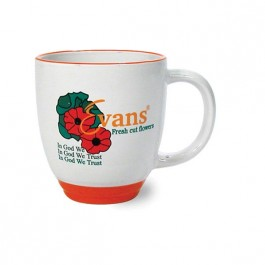 White / Orange 13 oz Heartland Vitrified Ceramic Coffee Mug with Orange