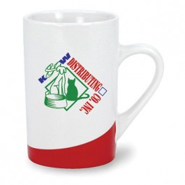 White / Red 12 oz Kensington Bottom Design Ceramic Coffee Mug