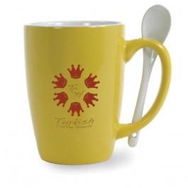 Yellow / White 16 oz Mete Ceramic Mug with Spoon