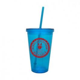 Aqua 16oz Acrylic Double Wall Chiller Cup & Straw