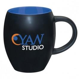 Black / Blue 15 oz. Matte Barrel with Color Coffee Mug