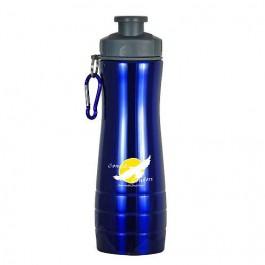 Blue / Gray 28 oz Single-Wall Ridged Sports Bottle
