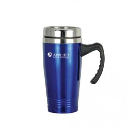 Blue / Silver 16 oz Stainless Steel Double-Wall Mug