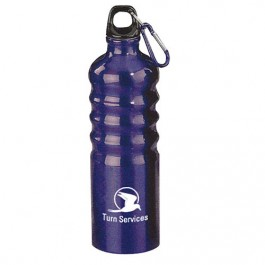 Blue 27 oz Aluminum Sports Bottle with Multi-Ridge Grip