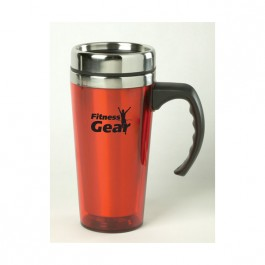 Transparent Red / Stainless 15 oz Color Stainless Steel Travel Mug