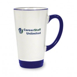 White / Cobalt Blue 16 oz Hanover Two Tone Ceramic Coffee Mug