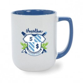 White / Ocean Blue 17 oz Windsor Two Tone White Ceramic Coffee Mug