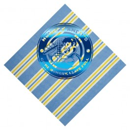 Candy Stripe Blue Foil Stamped 3-Ply Pattern Luncheon Napkin