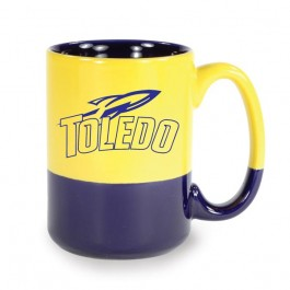 Yellow / Cobalt Blue 13 1/2 oz Varsity Vitrified Ceramic Coffee Mug - Yellow / Cobalt