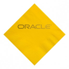 Sunshine Yellow Foil Stamped 3 Ply Colored Luncheon Napkin
