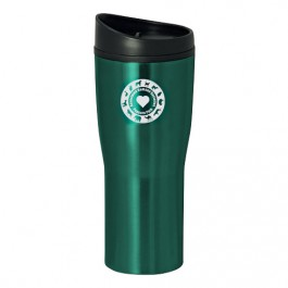 Green / Black 16 oz Curved Stainless Steel Tumbler