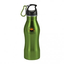 Green / Black 20 oz Contour Stainless Steel Sports Bottle