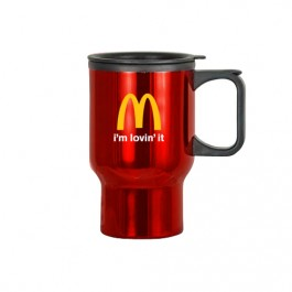 Red / Black 16 oz Classic Stainless Steel Travel Mug